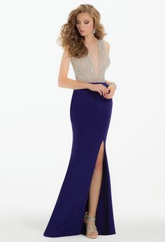 Beaded Illusion Dress with Jersey Side Slit