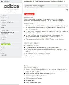 Responsable de rayon/Floor Manager H/F - Champs-Elysées at Adidas #sportjob #jobsearch #job #sport #sportyjob