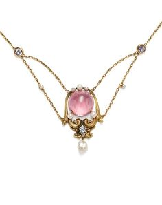 Arts & Crafts Gold and Pink Tourmaline Necklace, Attributed to Frank Gardner Hale. Hemp Jewelry, Jewelry Crafts, Jewelry Art, Jewlery, Fine Jewelry, Jewelry Design, Jewelry Making, Victorian Jewelry, Antique Jewelry