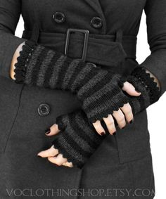 SALEM BLACK striped fingerless mittens with by voclothingshop, $72.00