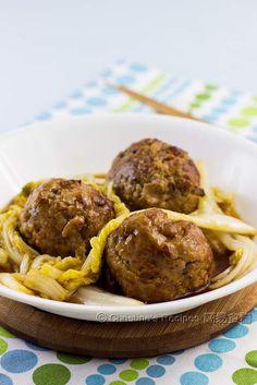 Lion's Head Meatballs01 http://en.christinesrecipes.com/2014/01/lions-head-meatballs.html