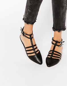 Image 1 ofASOS LOS ANGELES Pointed Caged Ballet Flats