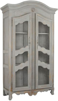 "Christopher Cabinet :: Retail $ 5440, OKL $ 2399 | OneKingsLane.com :: [52""W x 21""D x 92""H] Gray painted pine & chicken wire :: ""This expansive cabinet enhances any room with an air of French country charm. Its distressed gray finish and beautifully carved accents speak to a high quality of craftsmanship and artistry."" :: Is this armoire/cabinet not absolutely brilliant?! 