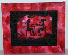 Card I made using the Cameo silhouette with an alcohol ink frame and background.