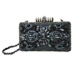 Mary Frances Multi Dusk Clutch ($300) ❤ liked on Polyvore featuring bags, handbags, clutches, multi, black purse, studded purse, crocodile handbag, black studded purse and black clutches