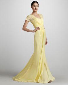 Flutter-Sleeve Chiffon Mermaid Gown by Pamella Roland at Bergdorf Goodman.