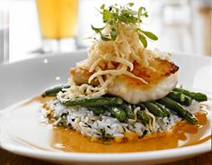 New Signature Rob Feenie dishes at Cactus Club Cafe! pacific lingcod, thai red curry sauce, coconut almond rice, green beans, crispy wontons, micro cilantro.