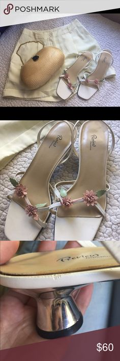 • nwot floral heeled sandals • my gosh these are cute. little pastel pink flowers with equally adorable green leaves decorate the straps of these silver heeled, bone white sandals.   nwot, bought at nordstrom by my mom ages ago. small imperfections because they are vintage—mostly the glue yellowing. the lining on the bottom has lifted up, but has been glued down with industrial strength glue. nothing noticeable, please see pics.  * no trades please * ask questions! * smoke free/cat and dog…
