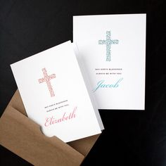 Add a Name — Personalized Religious Card — Flowering Cross Card — For Boy or Girl, Christening, Baptism, First Holy Communion — by allotria on Etsy