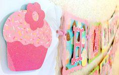 Cupcake Birthday Banner Cupcake Party Theme Cupcake Party Decorations Happy Birthday Banner
