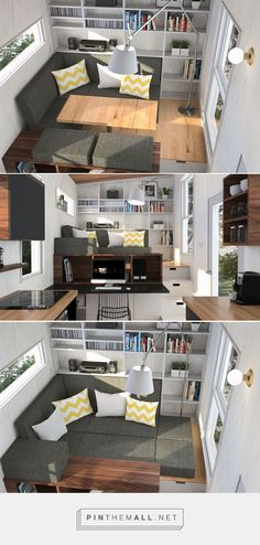 The Atelier Praxis Tiny House By Minimalist - TINY HOUSE TOWN Main floor bedroom and lounge with room for a home office. - created via https://pinthemall.net