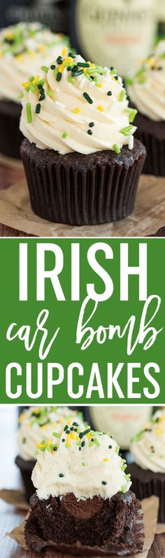 Irish Car Bomb Cupcakes :: Guinness chocolate cake, Jameson whiskey ganache filling, and Baileys buttercream frosting. #irish #stpatricksday #guinness
