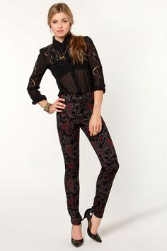 Tripp NYC Paisley Pants - High-Waisted Pants - Corduroy Pants - $80.00