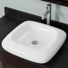 V100 White Porcelain Vessel Sink