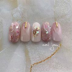 Green Nail Designs, Natural Nail Designs, Cute Nail Art Designs, Gem Nails, Diamond Nails, Pastel Nails, Pink Nails, Japan Nail Art, Uñas Diy