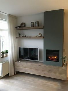 Wohnzimmer Ideen Media wall, shelving, TV, inset fire, stove Kitchen Improvements - Enjoy Now and Wh New Living Room, Interior Design Living Room, Home And Living, Living Room Designs, Living Room Decor, Tv Wall Ideas Living Room, Fireplace Design, Inset Fireplace, Fireplace Tv Wall