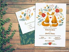Fox Wedding Theme Invitations / fox couple art / foxes wedding invite / animal wedding invitation / rustic wedding invitation -- Perfect for outdoor weddings, an adorable hand-painted kissing fox couple surrounded by flowers and foliage make this one a charmer! Click on the photo to see the collection! All illustrations are original. See my drawing process on www.instagram.com/arncyn