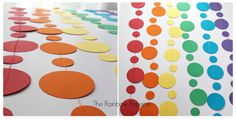 12m Rainbow Backdrop 1 & 5/8 Circles Paper by TheRainbowPaperie
