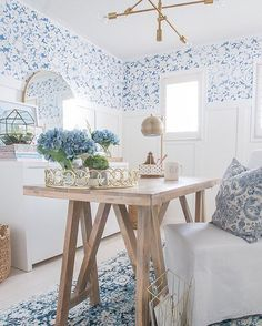 Stencil designs and pretty pattern for a colorful room makeover that's cheaper than wallpaper! Wall stencils and furniture stencils for painting DIY home decor.