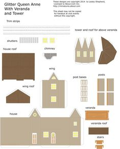 Make A Traditional Queen Anne Style Glitter House in Miniature: Printable Parts for A Queen Anne Style Glitter House In N Scale