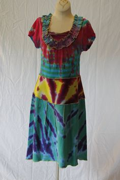 Upcycled Tie-Dyed Forever Scoop Neck Cotton Knit Women's Blouse Repurposed into Eclectic bohemian Dress on Etsy, $62.00