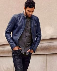 This combination of a navy leather bomber jacket and navy leather jeans is uber versatile and provides instant off-duty cool. Navy Leather Jacket, Leather Jacket Outfits, Leather Jeans, Leather Jackets, Jeans En Cuir, Tom Hardy, Men Looks, Jacket Style, Jacket Men