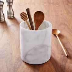 Marble Kitchen Utensil Holder | Made from solid marble, this utensil holder keeps kitchens tidy and stylish.