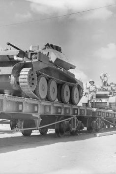British Cruiser Mk IV tanks being loaded onto railway trucks at an Egyptian quayside after being unloaded from ships 5 October 1940.