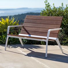 Presenting a fresh interpretation of outdoor lounge furniture, Vaya benches have reclined backs and a lower stance for a leisurely level of comfort. Cheap Patio Furniture, Outdoor Lounge Furniture, Steel Furniture, Pallet Furniture, Industrial Furniture, Rustic Furniture, Cool Furniture, Outdoor Chairs, Outdoor Decor