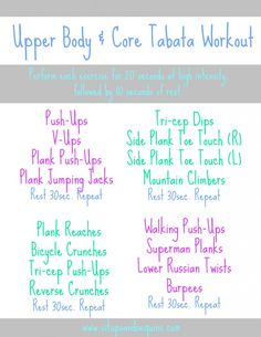20 minute Upper Body & Core Workout  www.situpsandsequins.com