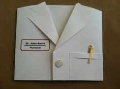 handmade card … shaped like a White Lab Coat or nurse scrubs jacket or doctors coat … wish I had thought of this when my neice and her husband got their white coats at at the beginning of med school … I hear its a tradition at many med schools … Cute Cards, Diy Cards, White Lab Coat, White Coats, Tarjetas Diy, Shaped Cards, Graduation Cards, Get Well Cards, Masculine Cards