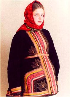 Russian traditional costume from Voronezh Province. A festive warm jacket is an authentic specimen from Sergey Glebushkin collection. Late 19 - early 20 century. Photo:  circa 2000 - 2010. #Russian #folk #national #costume