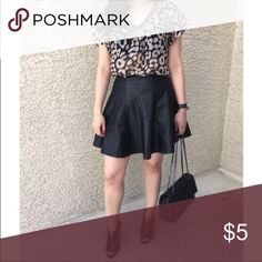 Black Faux Leather Skirt Black faux leather skirt with zipper closure. Skirt is missing hook closure at the top. I've always worn it without the closure but you can replace for closer fit. Pictured bag and top available for sale in another listing. Forever 21 Skirts