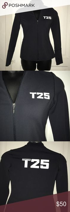 ❤️Beachbody T25 Focus zip sweatshirt  NWOT Beachbody T25 focus zip sweatshirt with thumb holes! Great for working out or just for comfort gear! This is a stretchy mid weight jacket perfect for a cool summer day Stay motivated and looking great! beachbody Tops Sweatshirts & Hoodies
