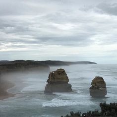 Looking back at the other two of the 12 Apostles on the Great Ocean road as the sea mist starts to roll in. #greatoceanroad #beingatouristinmyownhomestate #victoria #headinghomeslowly by wood_farm