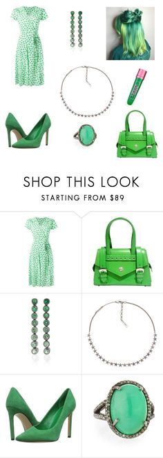 """Green Starlight"" by savannah-foster-330 ❤ liked on Polyvore featuring P.A.R.O.S.H., Versace, SheBee Gem, Marc Jacobs, Nine West, Bavna and Lipstick Queen"