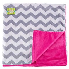 "Let your little girl keep warm with Pink & Gray Chevron Girl Blanket! This adorable minky blanket features a white and gray chevron pattern on one side and a vibrant pink side that will complement your little girl's room. Fashion and functionality make this blanket a real winner!    	     	Dimensions:    	  		Length: 30""  	  		Width: 30"""