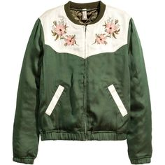 Embroidered bomber jacket (2.170 RUB) ❤ liked on Polyvore featuring outerwear, jackets, coats & jackets, green zip jacket, blouson jacket, zipper jacket, green zipper jacket and green flight jacket