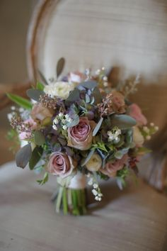 Christine note: I like this bouquet because the greenery in it almost has a blueish tone that could pick up the colors of the bridesmaids. Also one of my favorite bouquets that I have pinned Small Wedding Bouquets, Bride Bouquets, Bridal Flowers, Flower Bouquet Wedding, Rose Wedding, Diy Flowers, Spring Wedding, Floral Wedding, Wedding Colors