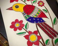 Handmade set of 3 Madhubani Bird cards (No writing inside) Size - These are based on the Madhubani style of Indian Folk art They are made with water colours and black ink on acid free 220 gsm paper I ship only to addresses in the UK Madhubani Art, Madhubani Painting, Worli Painting, Fabric Painting, Kalamkari Painting, Indian Folk Art, Indian Art Paintings, Krishna Art, Art N Craft