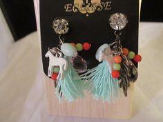 Womans Horse Dangle Earrings White Blue  #Eclipse #DropDangle