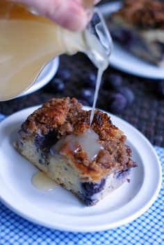 Blueberry Muffin French Toast Souffle with Buttermilk Syrup