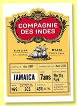 Worthy Park 7 yo 2007/2015 (43%, Compagnie des Indes, Jamaica, cask #WP31, 303 bottles)