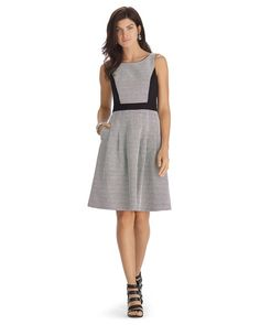 White House | Black Market Sleeveless Black and White Pieced Fit and Flare Dress #whbm