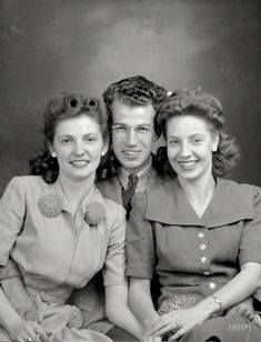 Circa 1945, the future Life magazine photographer Tony Linck and two close associates. 3x4 inch Eastman Kodak safety negative. Prints from $15.