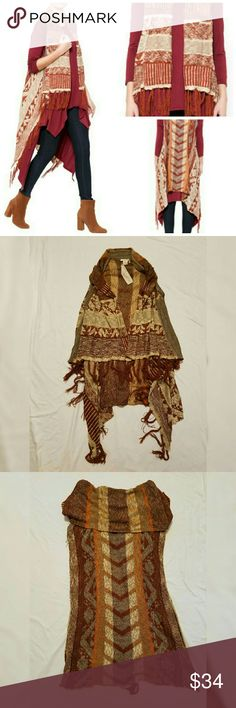 Mystree boho fringe vest one size Nwt, wow what great piece! Awesome sleeveless boho style  jacket in beautiful  shades of copper, orange, beige, and brown. 100% acrylic. One size. Length in the middle of the back ca. 31.5 inches, length in front ca. 25 inches. The way the piece falls creates two longer sections in the back  by the side seam ( see pictures). The length of those are about 45 inches. Mystree  Jackets & Coats