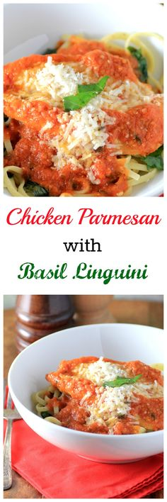 Chicken Parmesan with Basil Linguine By Noshing With The Nolands - Chicken breasts cooked in a spicy tomato sauce and topped with parmesan cheese is an Italian comfort food that has become one of America's favorite meals.