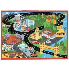 Disney Pixar Cars 2 Racetrack Rug X 44 Includes Road Signs By G