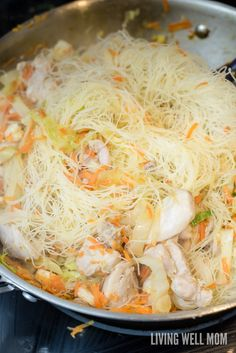 One-Pot Pancit is a quick and easy rice noodle dinner the whole family will love. With chicken, shrimp, and vegetables, this delicious recipe is gluten-free and kid-approved too! Chinese Food Menu, Easy Chinese Recipes, Gluten Free Recipes, Vegetarian Recipes, Pancit Recipe, Gluten Free Casserole, Rice Noodle Recipes, Chicken And Shrimp, Beef Stroganoff