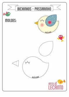 New sewing projects felt quiet books ideas Felt Templates, Applique Templates, Applique Patterns, Sewing Patterns, Bird Template, Bird Applique, Felt Crafts Patterns, Bird Patterns, Felt Quiet Books